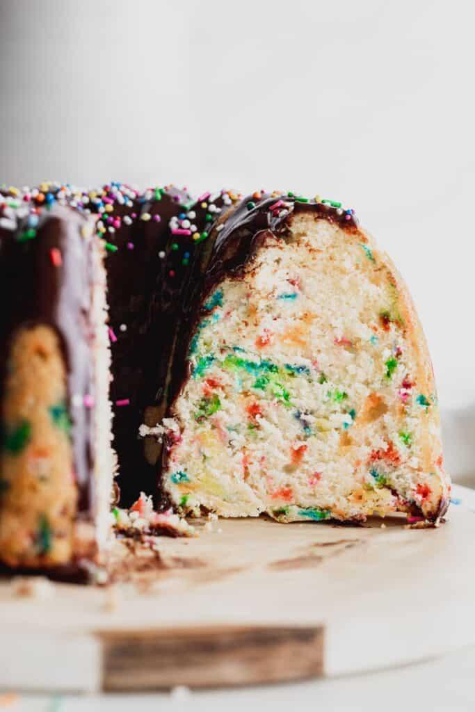 Side view of confetti bundt cake.