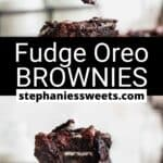Pinterest pin for Fudge Oreo Brownies