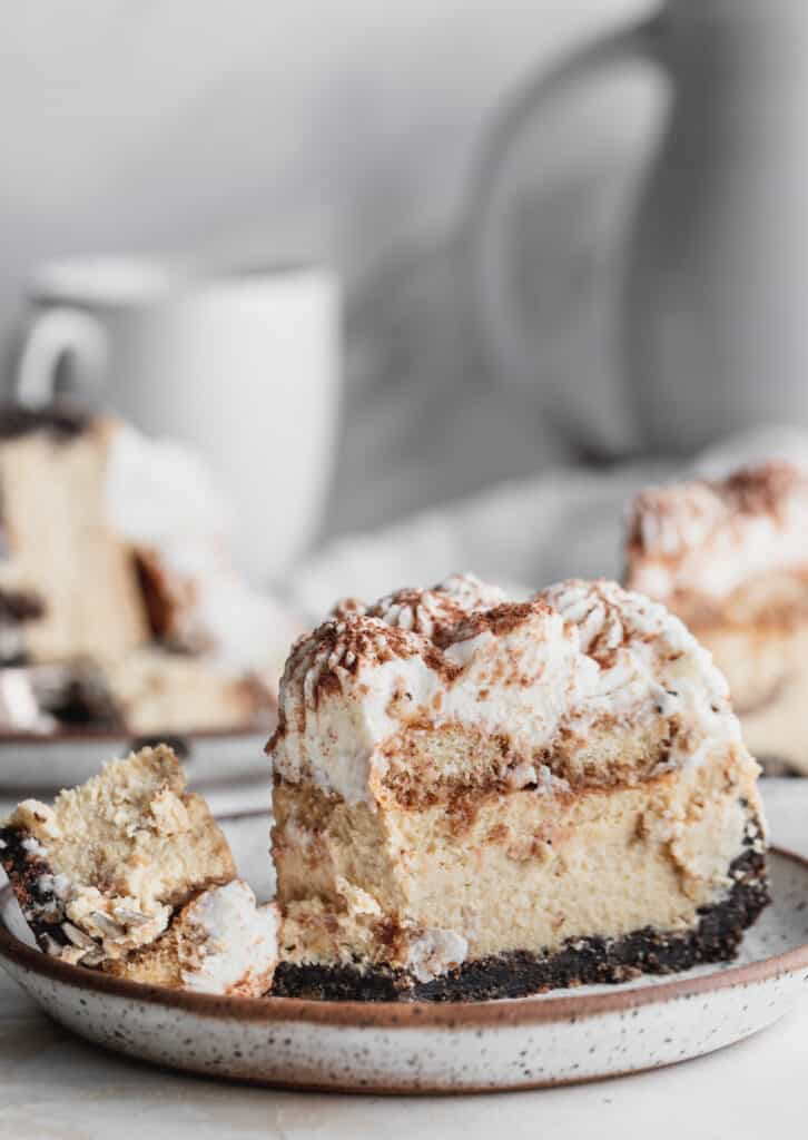 Side view of slice of cheesecake.