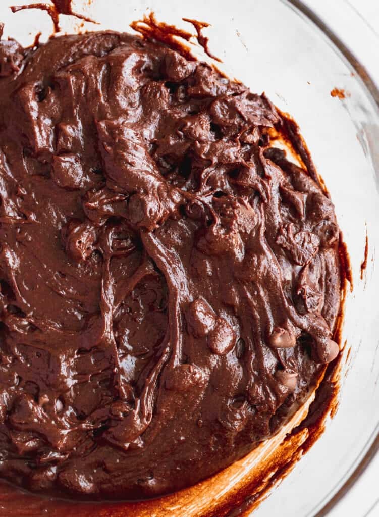 Brownie batter in a bowl.