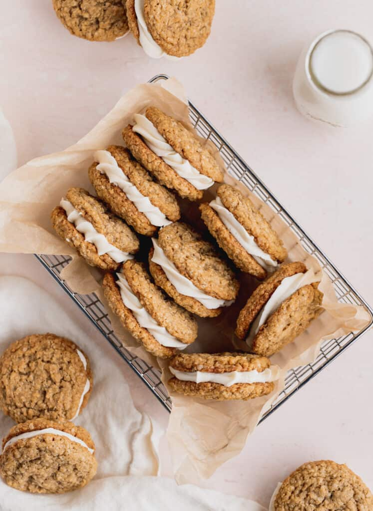 Oatmeal cream pies in a wire basket.