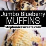 Pinterest pin for Jumbo Blueberry Muffins