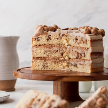 Side view of cut into snickerdoodle cake.
