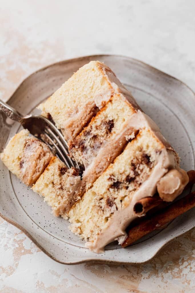 Close up of slice of cake.