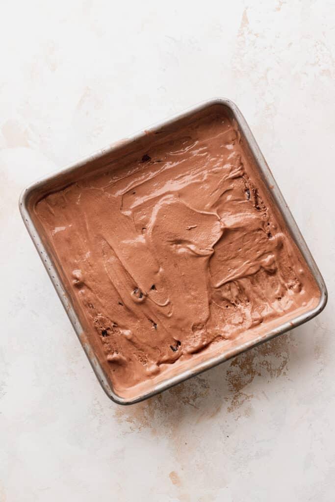 Chocolate ice cream in tin.