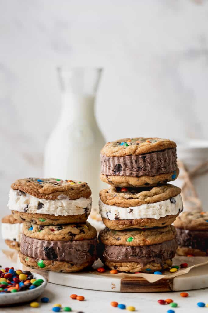 Stack of cookies on platter.