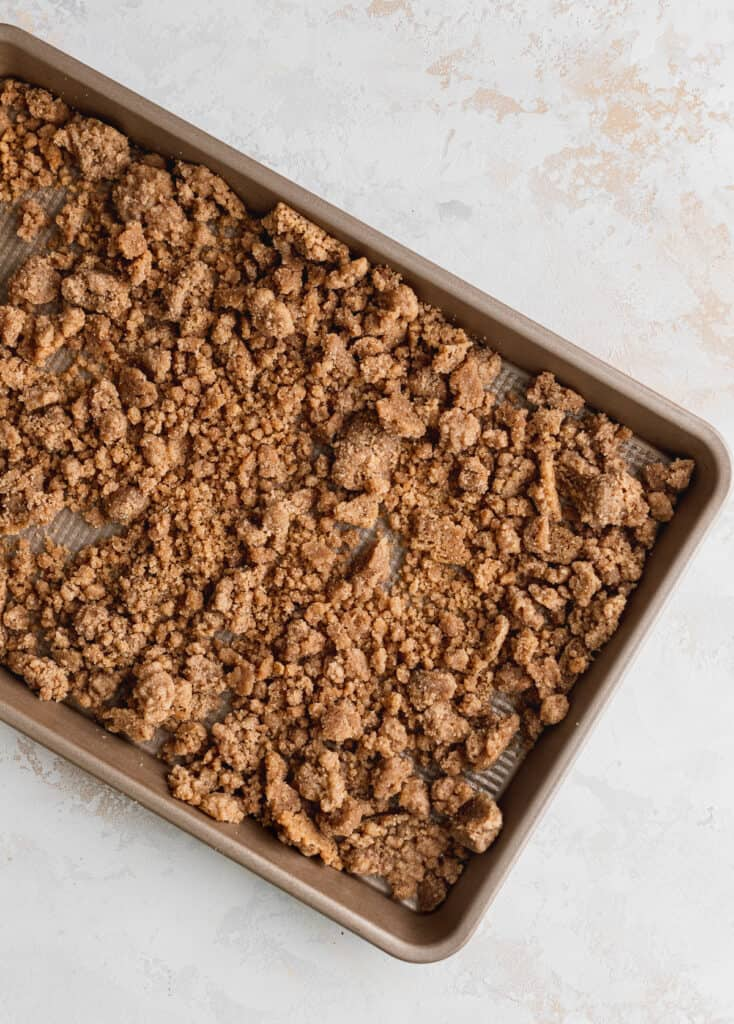 Crumb topping in cookie sheet.