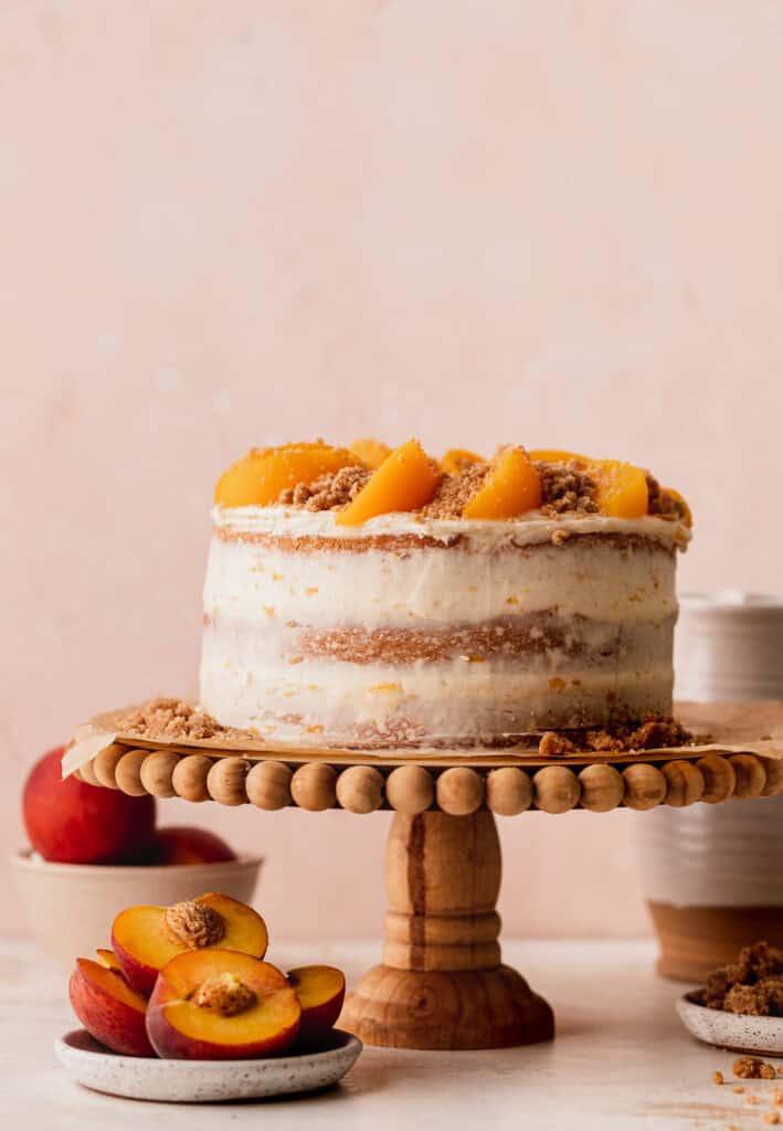 Cake on cake stand.