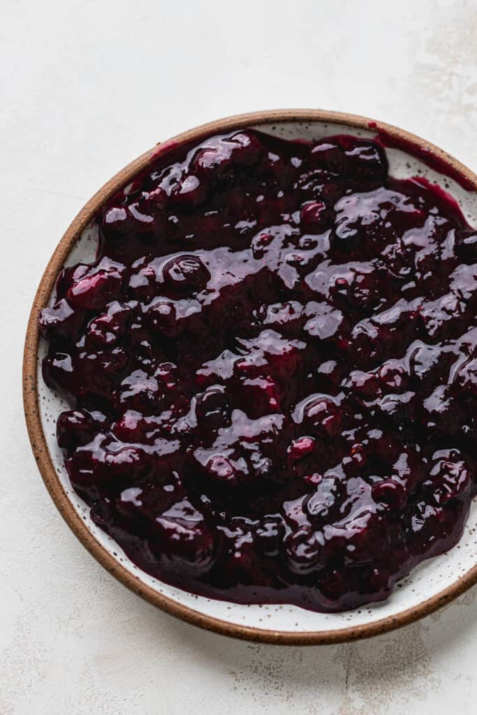 Blueberry filling on plate.