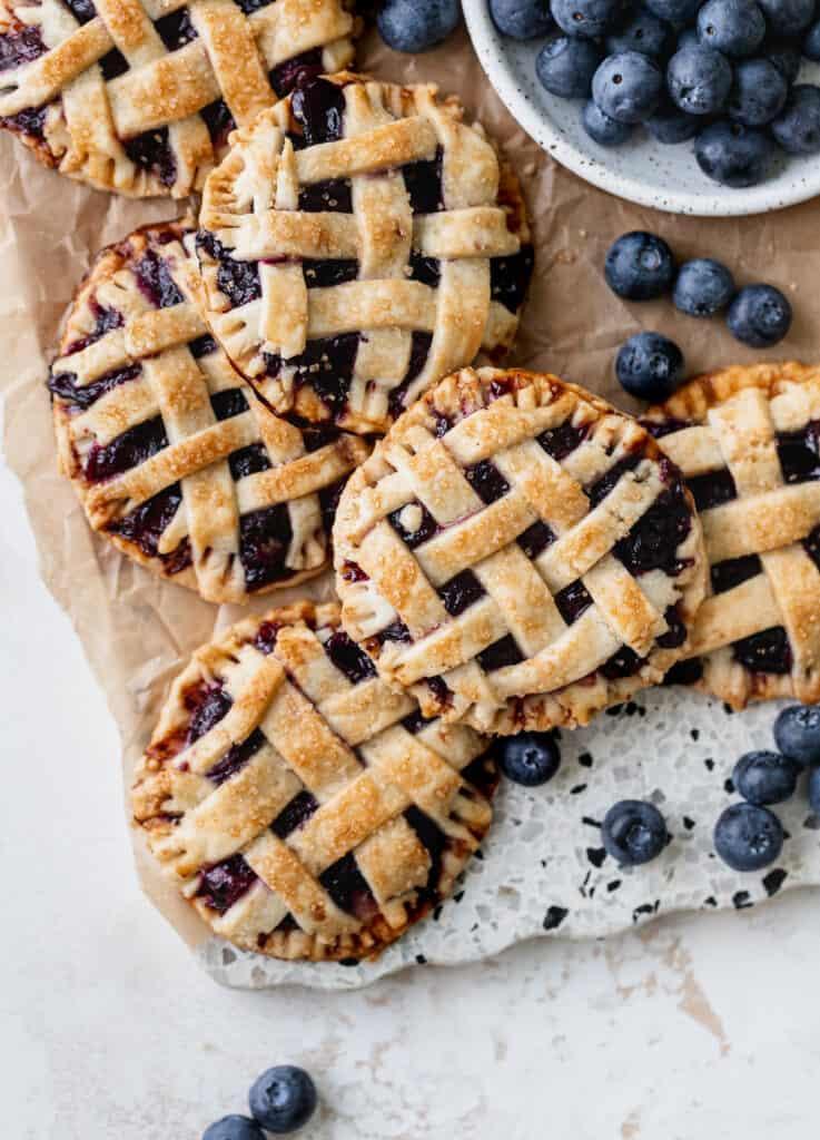 Pies on cutting board.