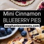 Pinterest pin for mini blueberry pies