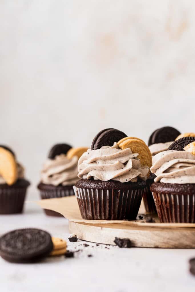 Oreo cupcakes on wood board