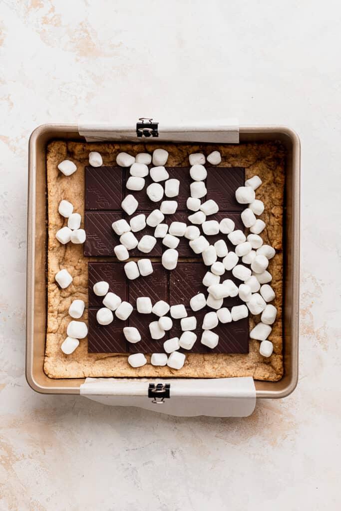 Mini marshmallows in the pan.