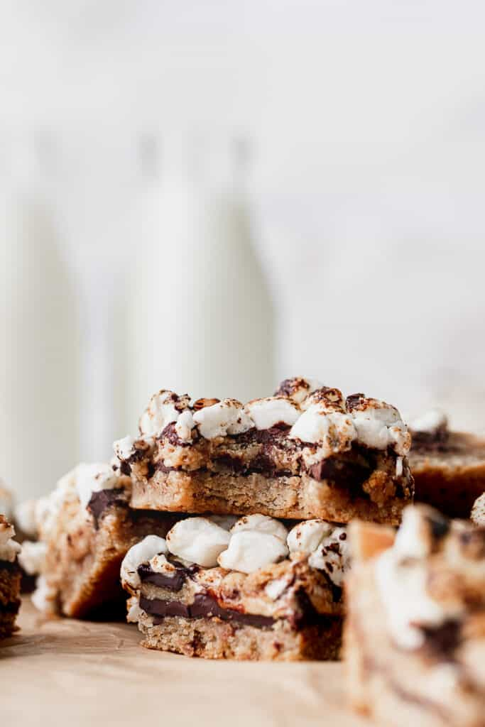 Stack of s'more cookie bars.