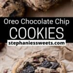 Pinterest pin for oreo chocolate chip cookies