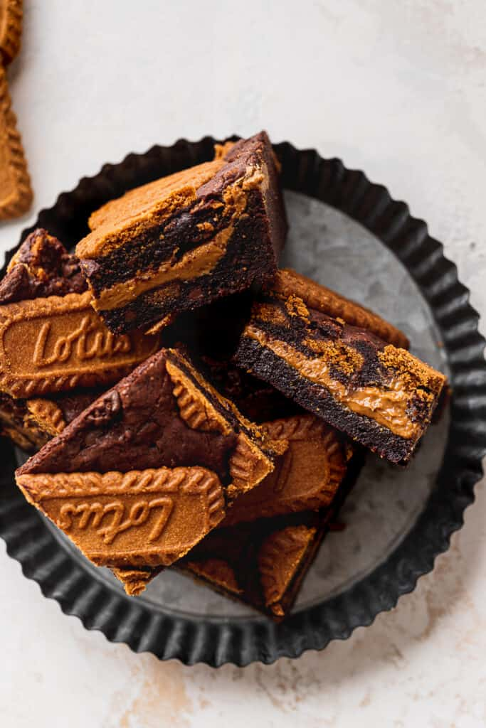 Biscoff brownies on a plate.