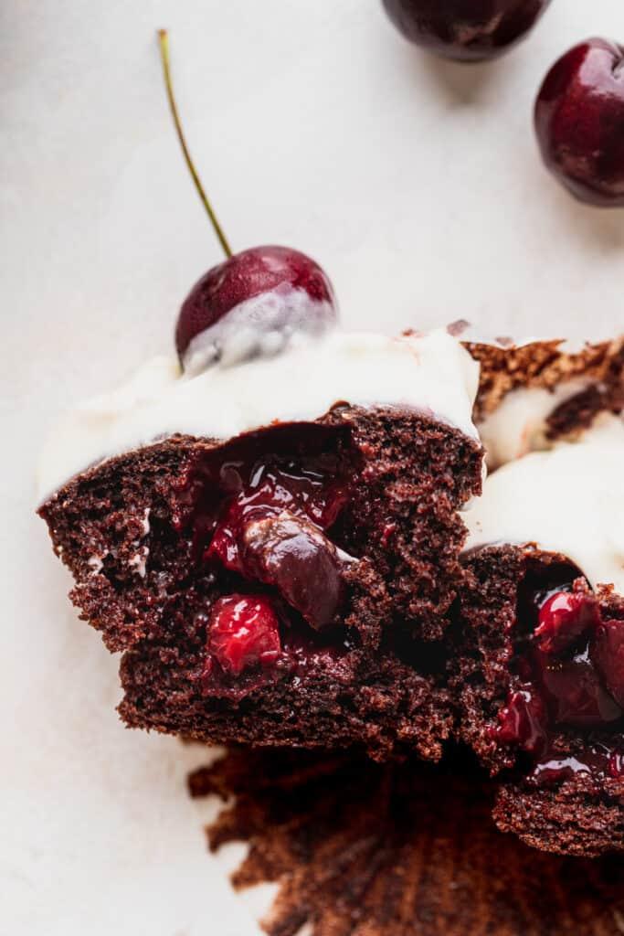Black forest cupcake split in half