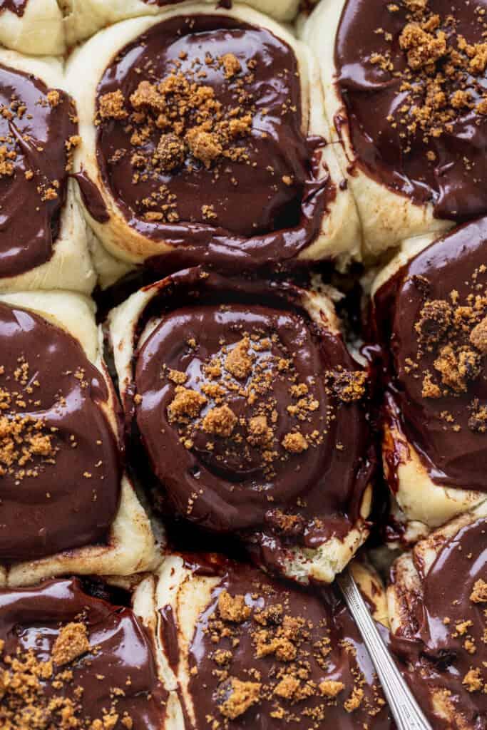 Close up of chocolate cookie cinnamon rolls.