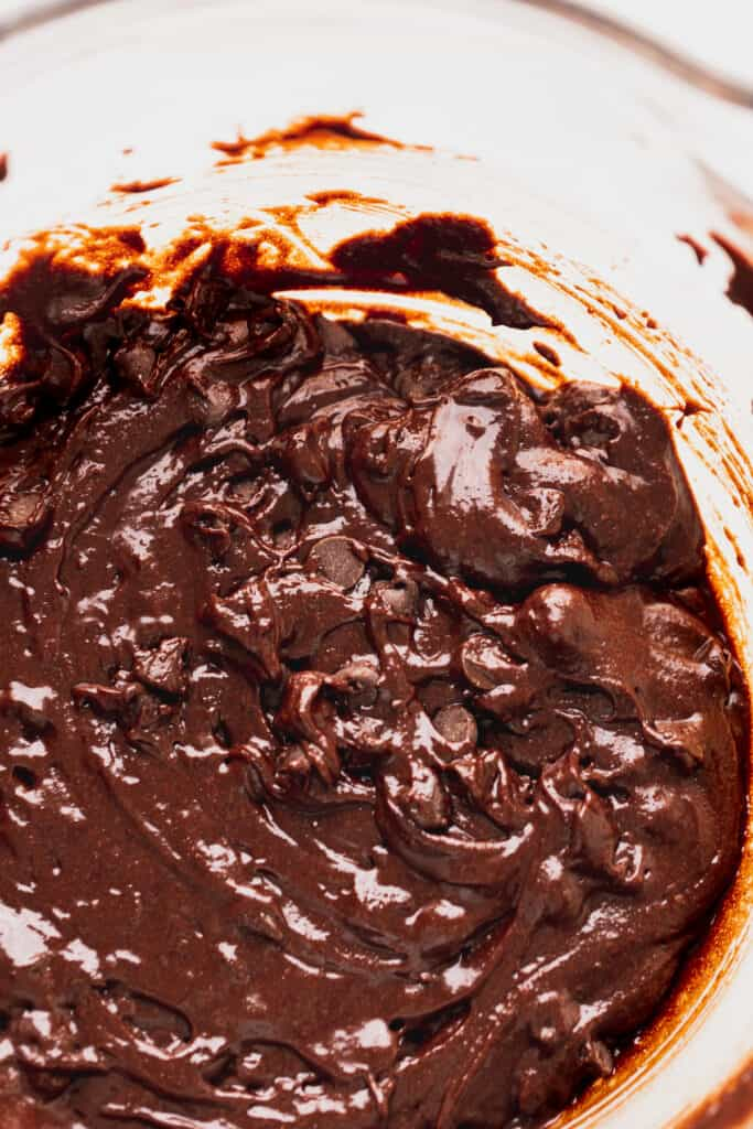 Brownie batter with chocolate chips.
