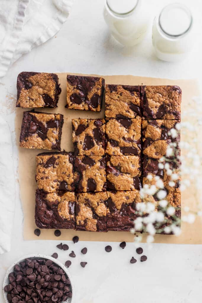 Brown butter brookie bars on a parchment paper.