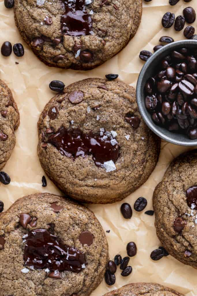 Cookies on parchment paper.