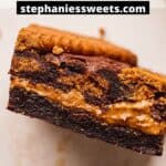 Pinterest pin for biscoff brownies.