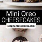 Pinterest pin for Mini Oreo cheesecakes.