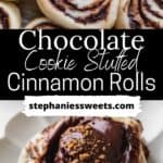 Pinterest pin for chocolate cookie cinnamon rolls.