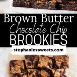 Pinterest pin for brown butter brookie bars.