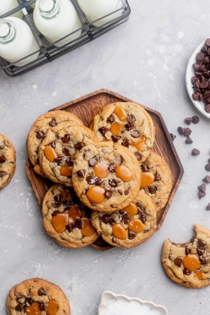 Cookies on a wood plate.
