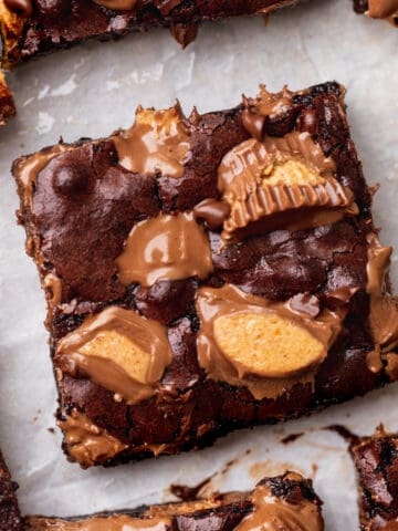 Top view of peanut butter cup brownies.