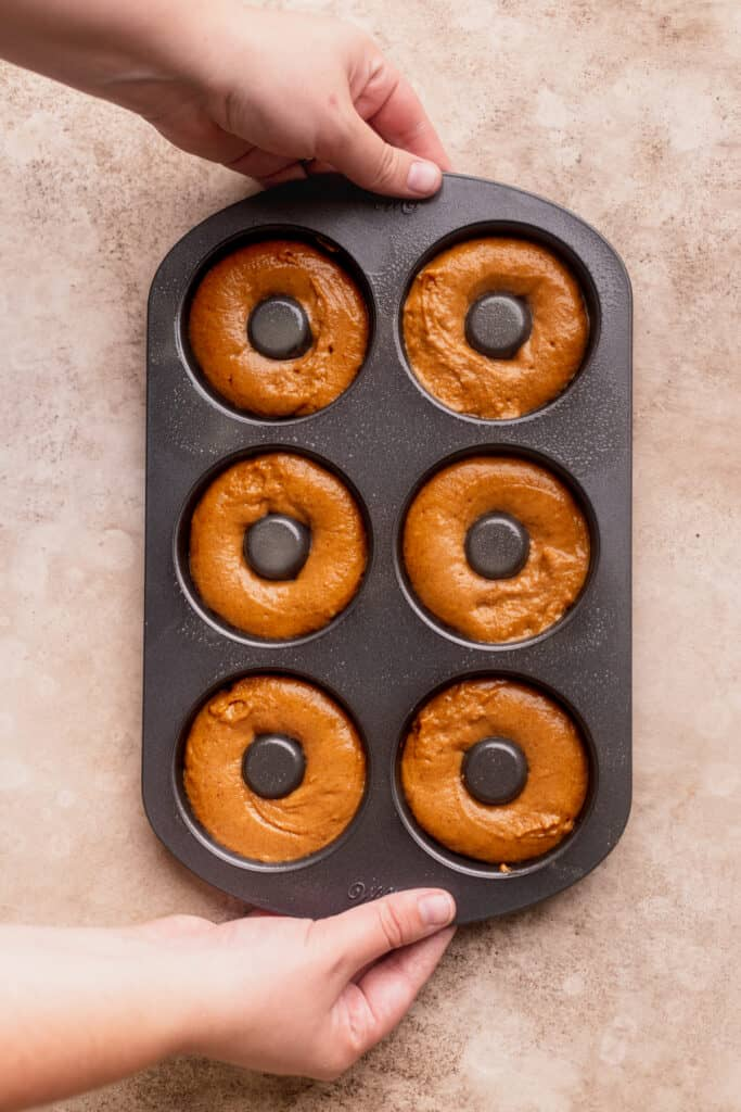 Batter in a donut pan.
