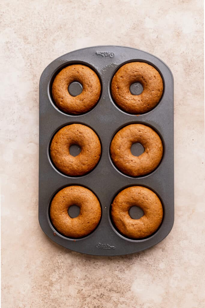 Donuts baked in donut pan.