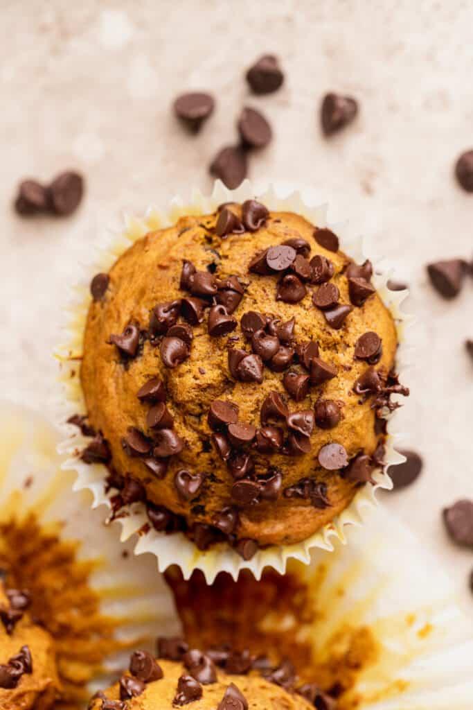 Top of a pumpkin chocolate chip muffins.
