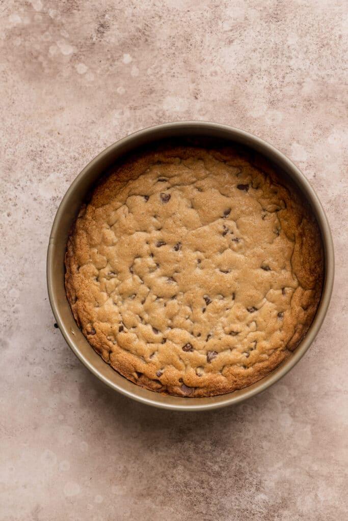 Cookie crust in a springform pan.