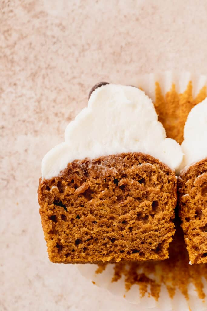 Cupcake split in half.