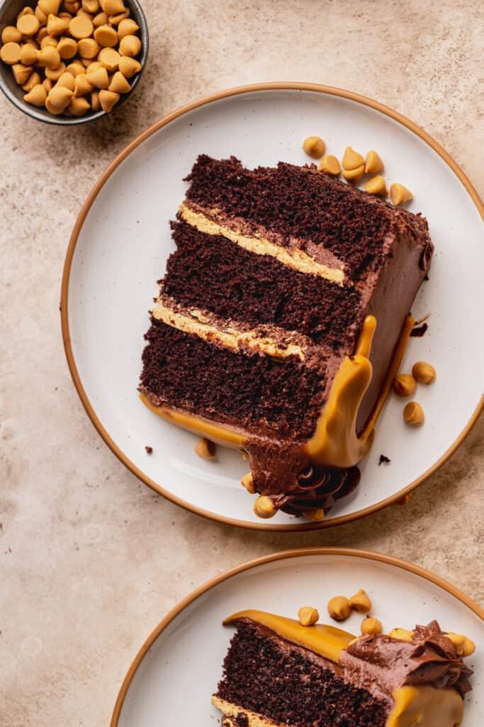 Chocolate butterscotch cake slice on a plate,