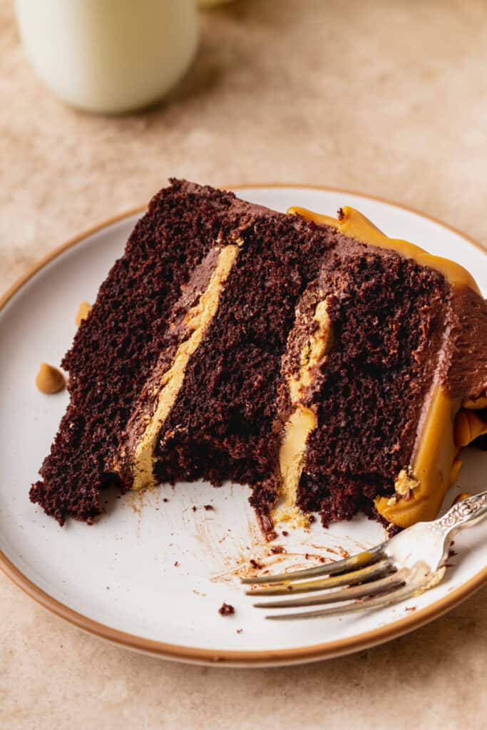 Chocolate butterscotch cake with a few bites missing.