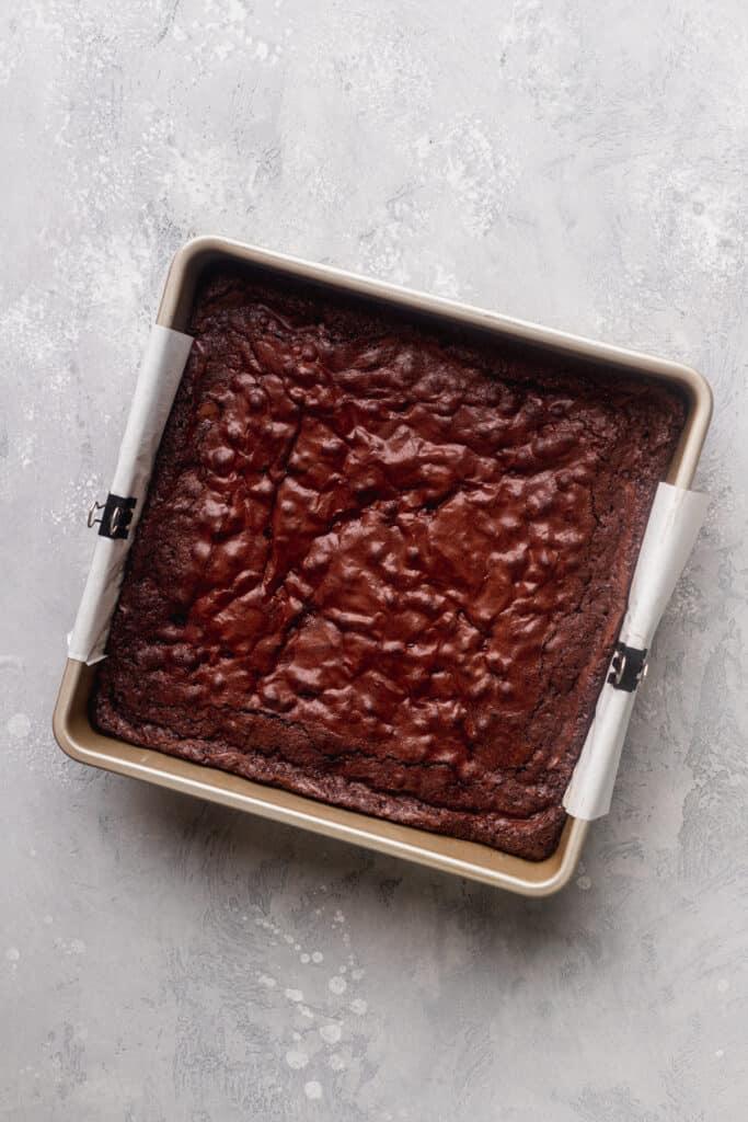Brownies baked in the pan.