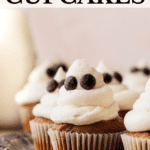 Pinterest pin for ghost cupcakes.