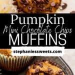 Pinterest pin for pumpkin chocolate chip muffins.