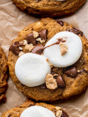 Pumpkin s'mores cookies with gooey marshmallows on top.